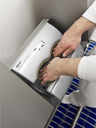 Sohlenreinigung/desinfektion, Hände waschen, Trocknen und Desinfektion