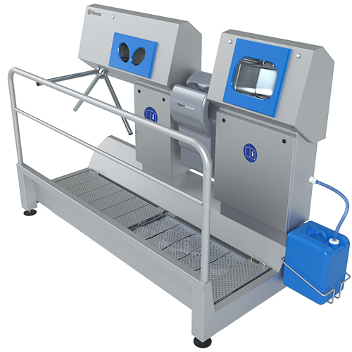 Sole disinfection, hand washing, drying and disinfect